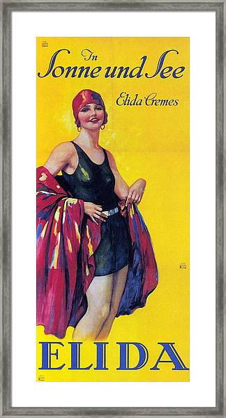 Elida Cremes In Sonne Und See - Woman In Swimsuit - Vintage Advertising Poster Framed Print