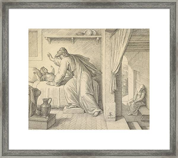 Elijah Revives The Son Of The Widow Of Zarephath Framed Print