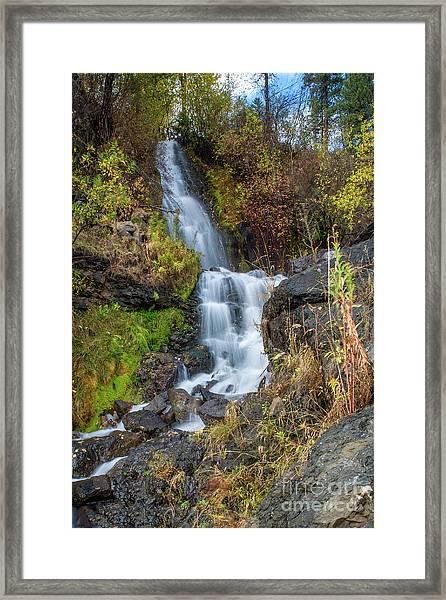 Elk Creek Waterfall Waterscape Art By Kaylyn Franks Framed Print