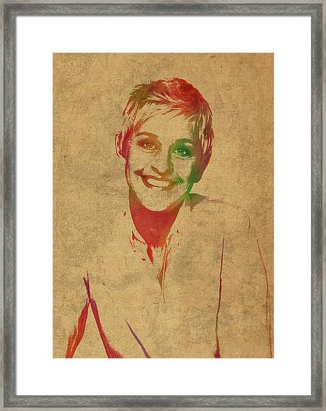 Ellen Degeneres Watercolor Portrait Framed Print