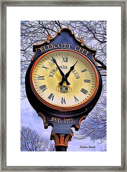 Ellicott City Clock Framed Print