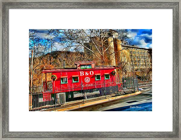 Ellicott City Train And Factory Framed Print