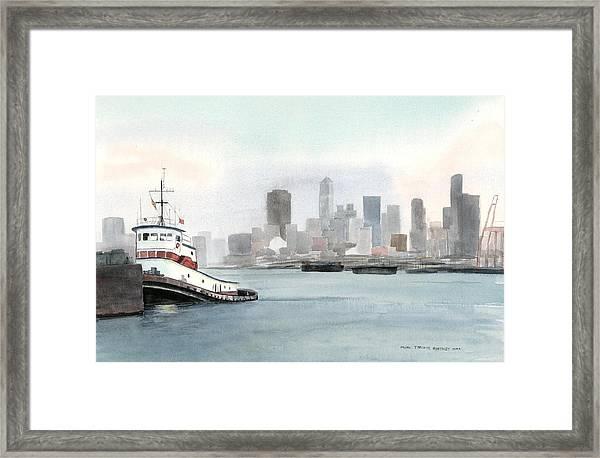 Elliott Bay Tugboat Framed Print