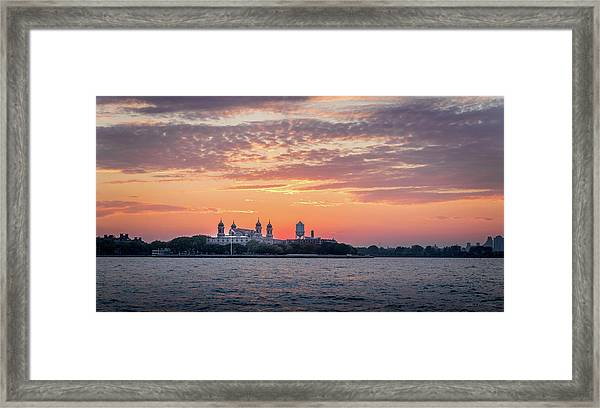 Ellis Island At Sunset Framed Print