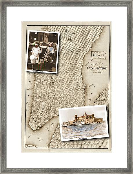 Ellis Island Vintage Map Child Immigrants Framed Print