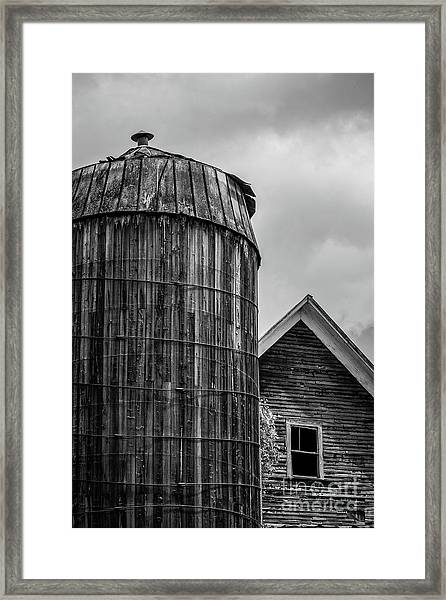 Ely Vermont Old Wooden Silo And Barn Black And White Framed Print