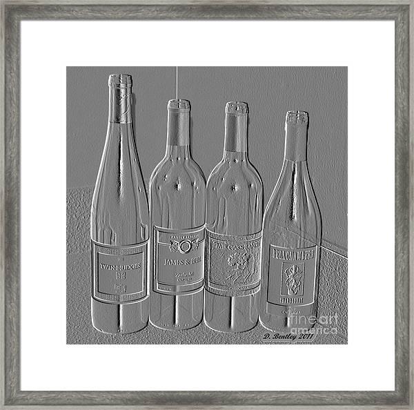 Embossed Wine Bottles Framed Print