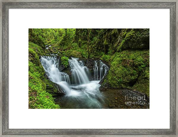 Emeral Falls Waterscape Art By Kaylyn Franks Framed Print