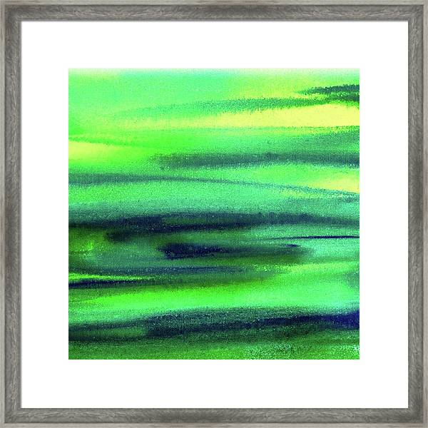 Emerald Flow Abstract Painting Framed Print