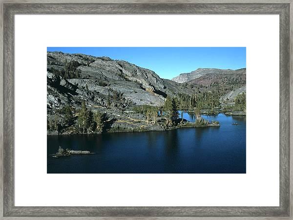 Emerald Lake Island Mountains Framed Print