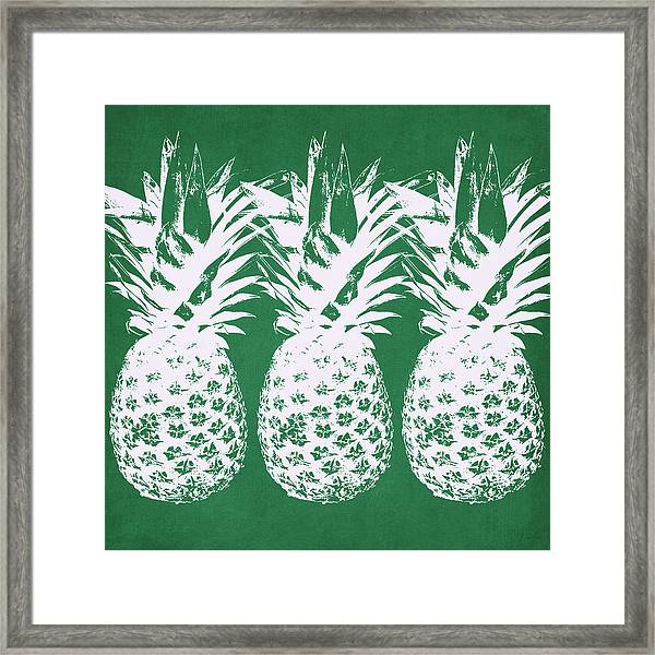 Emerald Pineapples- Art By Linda Woods Framed Print