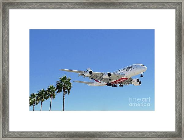 Emirates A380 At Lax Framed Print