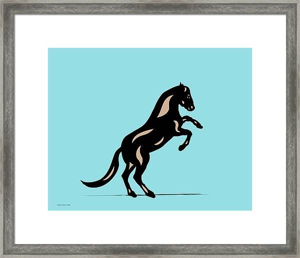 Emma II - Pop Art Horse - Black, Hazelnut, Island Paradise Blue Framed Print