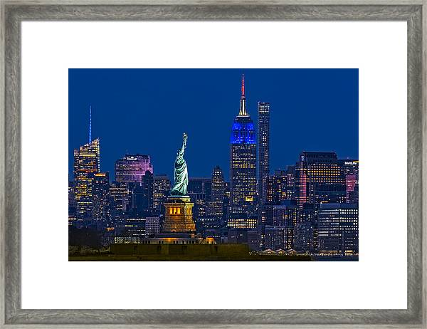 Framed Print featuring the photograph Empire State And Statue Of Liberty II by Susan Candelario