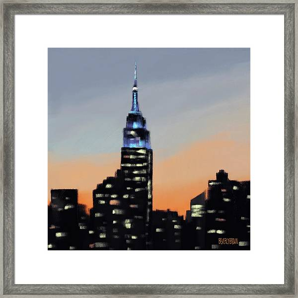 Empire State Building Ombre New York Skyline Framed Print