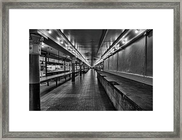 Empty Pike Place Market In Seattle Framed Print