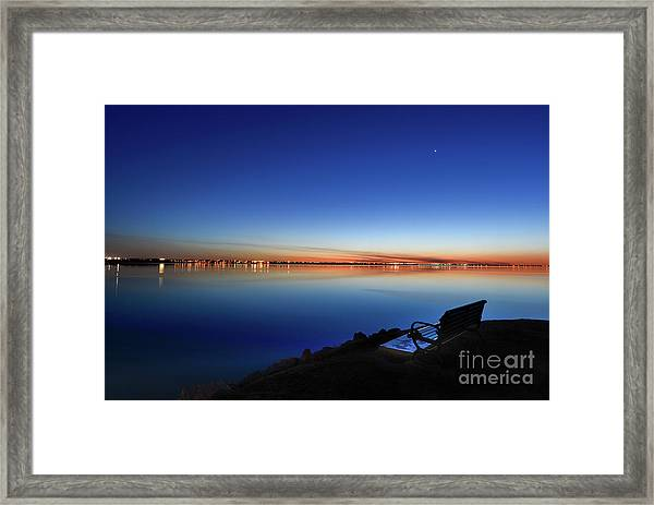 Empty Seat Watching The Moon Framed Print