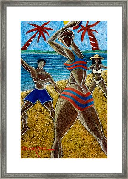 Framed Print featuring the painting En Luquillo Se Goza by Oscar Ortiz
