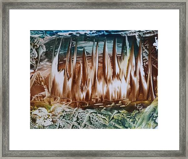 Encaustic Abstract Brown Blue-green Framed Print
