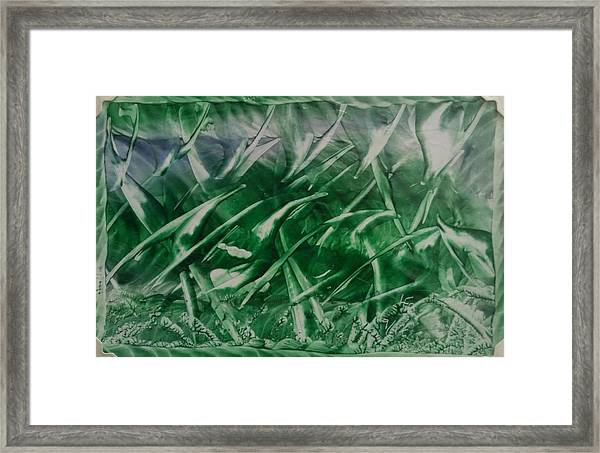 Encaustic Green Foliage With Some Blue Framed Print