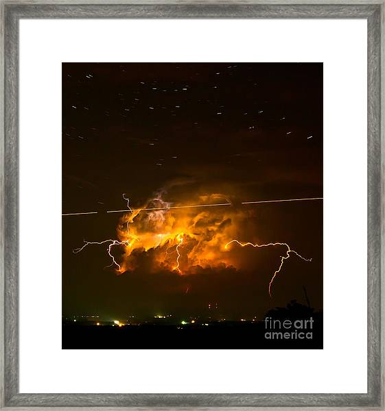 Enchanted Rock Lightning Framed Print