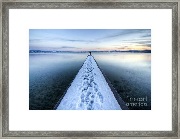 End Of The Dock In Lake Tahoe  Framed Print