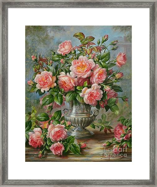 English Elegance Roses In A Silver Vase Framed Print