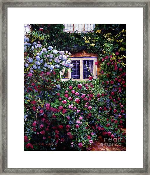 English Manor House Roses Framed Print by David Lloyd Glover