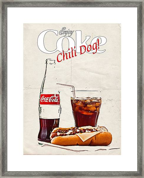 Enjoy Coca-cola With Chili Dog Framed Print