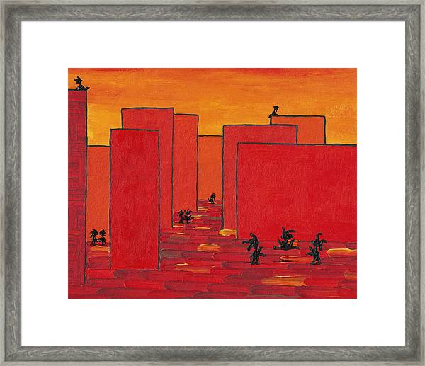 Enjoy Dancing In Red Town P2 Framed Print