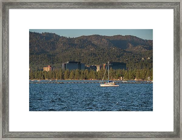 Enjoying The Lake Framed Print