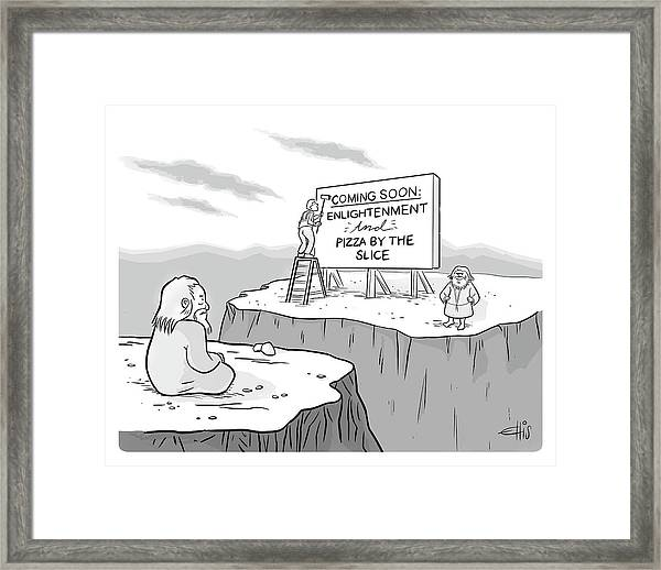 Enlightenment And Pizza Framed Print