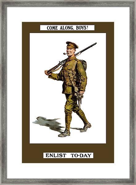 Enlist To-day - World War 1 Framed Print