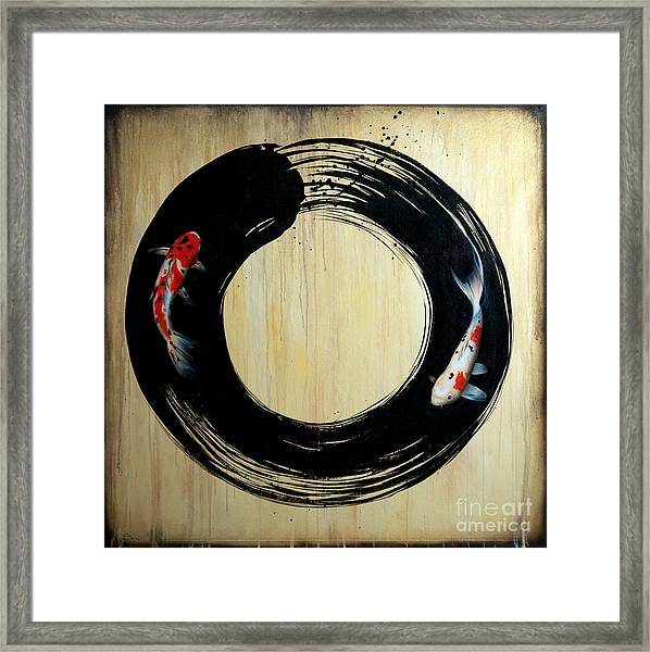 Enso With Koi Framed Print