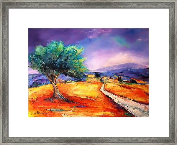 Framed Print featuring the painting Entering The Village by Elise Palmigiani