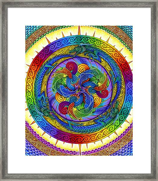 Psychedelic Dragons Rainbow Mandala Framed Print