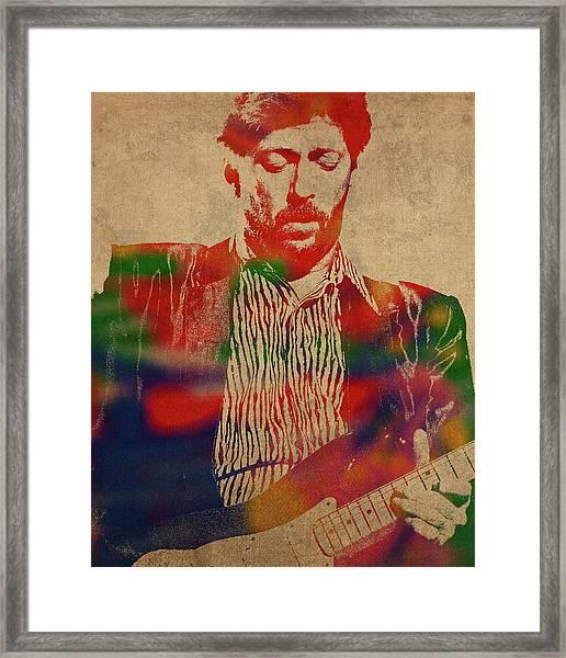 Eric Clapton Watercolor Portrait Framed Print