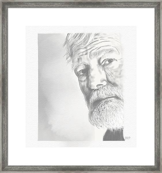 Framed Print featuring the digital art Ernest Hemingway by Antonio Romero