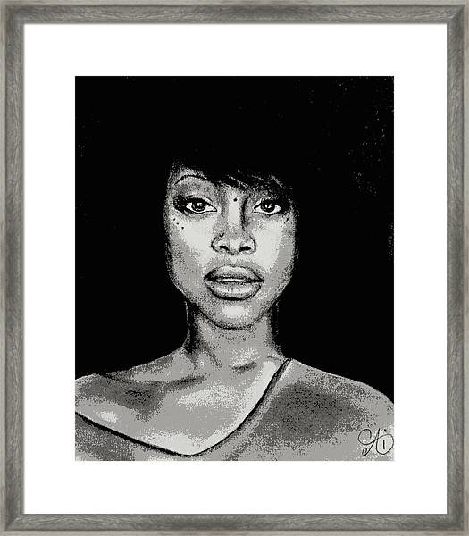 Erykah Baduism - Pencil Drawing From Photograph - Charcoal Pencil Drawing By Ai P. Nilson Framed Print