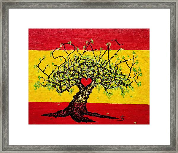 Framed Print featuring the drawing Espana Love Tree by Aaron Bombalicki