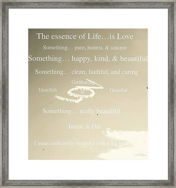 Essence Of Life Framed Print