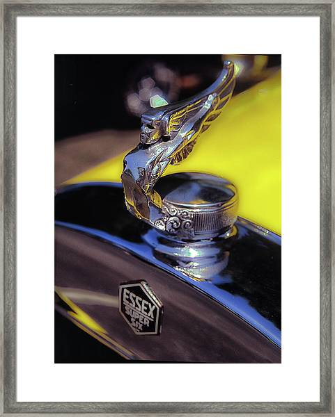 Framed Print featuring the photograph Essex Super 6 Hood Ornament by Samuel M Purvis III
