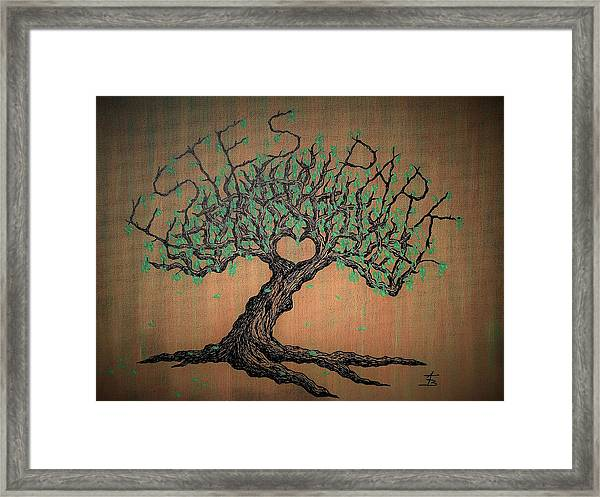 Framed Print featuring the drawing Estes Park Love Tree by Aaron Bombalicki