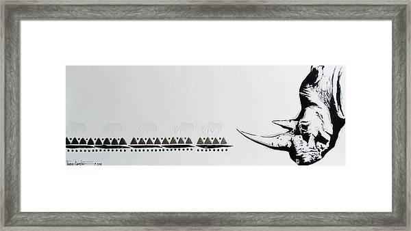 Ethnic Rhino Framed Print