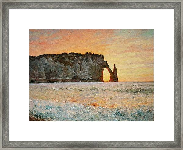 Etretat, Sunset  Framed Print