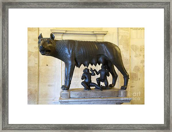 Etruscan Bronze Statue Of The She-wolf With Romulus And Remus. Capitoline Museum. Capitoline Hill. R Framed Print