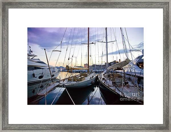 Evening At Harbor  Framed Print