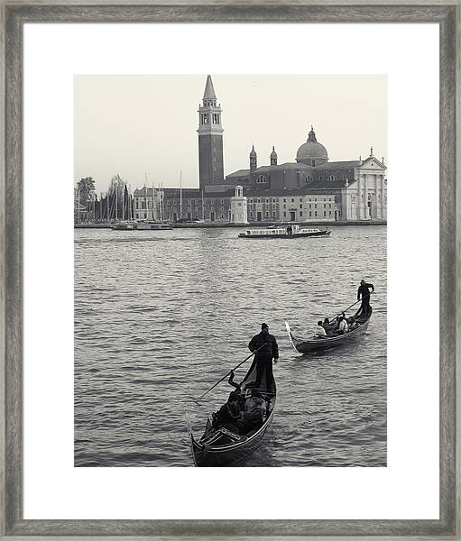 Evening Gondoliers, Venice, Italy Framed Print