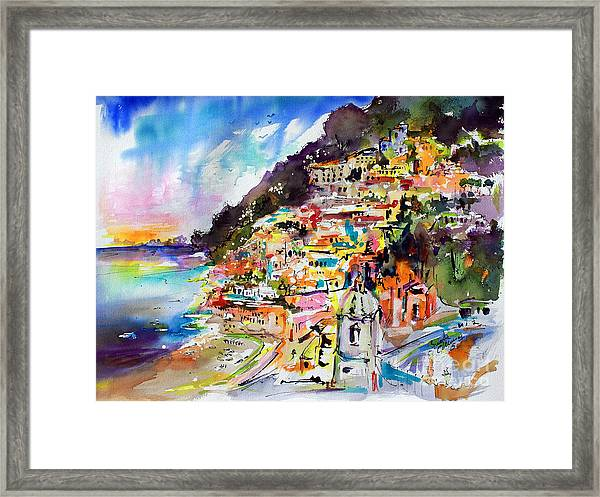 Evening In Positano Italy Framed Print