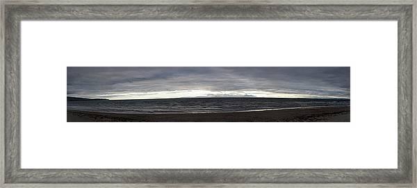 Evening Panoramic Ayr Beach, Scotland Framed Print